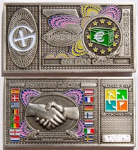 Euro Banknote Geocoin - Antique Silver Finish